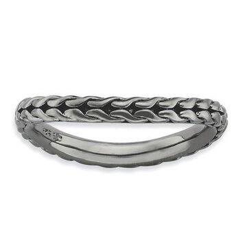 925 Sterling Silver Black Braid Style Wavy Ring