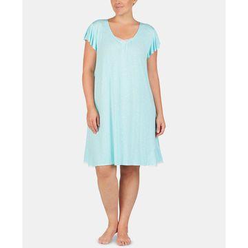 Plus-Size Tulle Trim Chemise Nightgown
