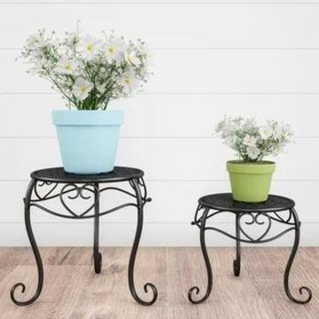 Plant Stands- Set of 2 Nesting Wrought Iron Inspired Metal Round Decorative Potted Plant Display by Pure Garden - Set of 2 (Matte Black)