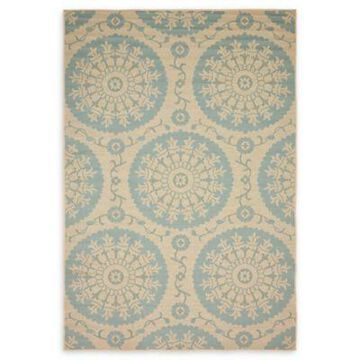Unique Loom Medallion 6' x 9' Powerloomed Indoor/Outdoor Area Rug in Light Blue