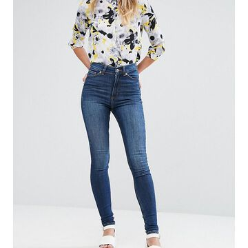 Monki Oki skinny high waist jeans with organic cotton in mid blue