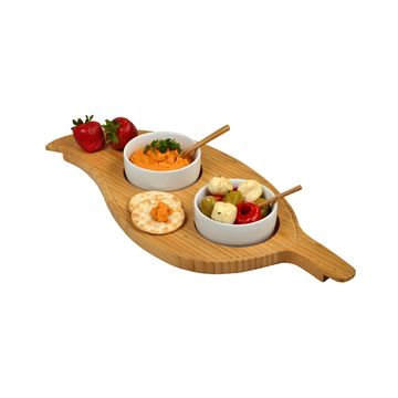 Bamboo Leaf Shaped Serving Platter with 2 Ceramic Bowls