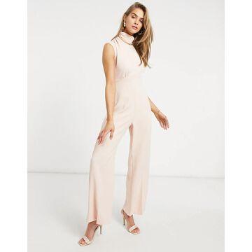 Closet London high neck cap sleeve jumpsuit in blush-Pink