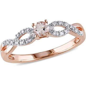 Tangelo 1/6 Carat T.G.W. Morganite and Diamond-Accent Rose-Plated Sterling Silver Infinity Ring