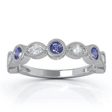 14K Gold Tanzanite & Diamond (0.12 Ct, G-H Color, SI2-I1 Clarity) Milligrain Wedding Band by Noray Designs