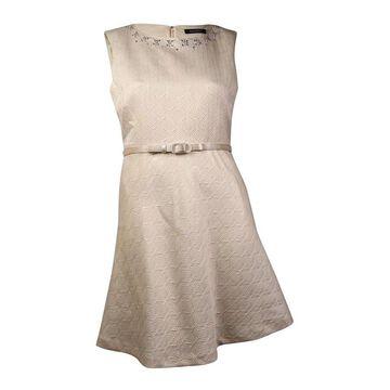 Ellen Tracy Women's Embellished Jacquard Belted A-Line Dress (12, Ivory) - Ivory - 12