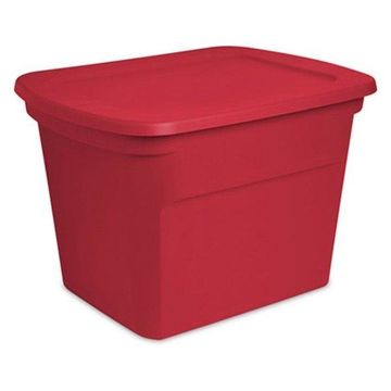 Sterilite 17316608 18 Gallon Holiday Storage Tote, Red