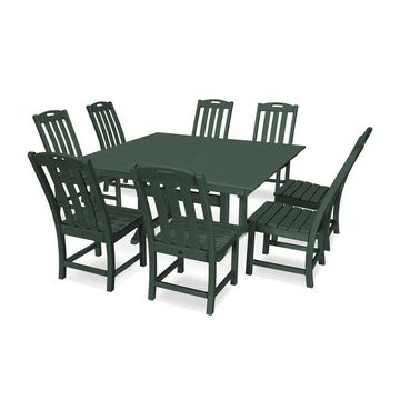 Trex Outdoor Furniture Yacht Club 9-Piece Green Frame Dining Patio Dining Set with Dining