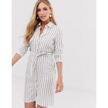 Liquorish tie front shirt dress in blue stripe