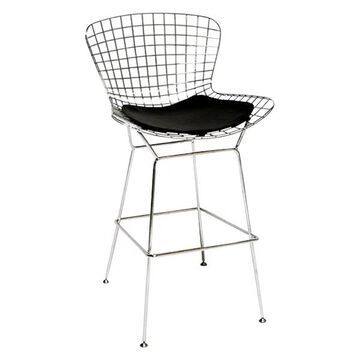 Fine Mod Imports Wire Bar Chair, Black