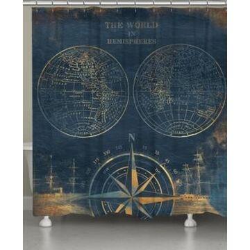 Laural Home Golden Comp Blue World Map Shower Curtain Bedding