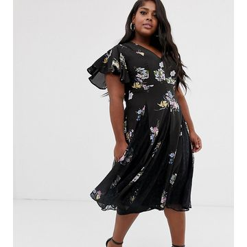 ASOS DESIGN Curve midi dress with godet lace inserts in purple bloom print