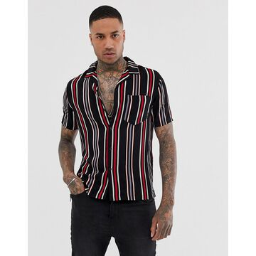 Religion revere collar shirt with vertical stripes in red