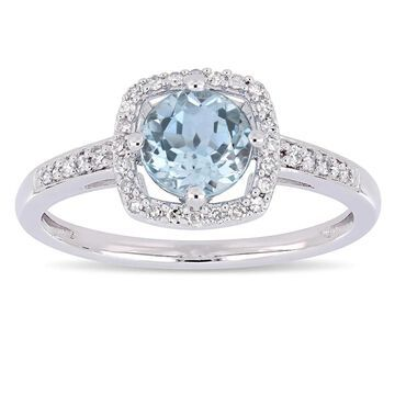 Miadora 10k White Gold Sky Blue Topaz and 1/7ct TDW Diamond Floating Square Halo Engagement Ring