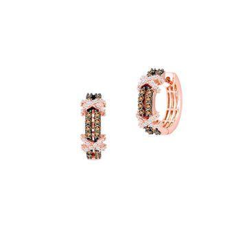 Le Vian Chocolatier 14K Strawberry Gold, Chocolate Diamonds & Vanilla Diamonds Huggie Hoop Earrings