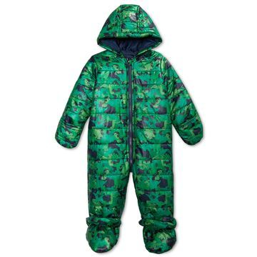 Baby Boys Hooded Dinosaur-Print Footed Bunting Snowsuit, Created for Macy's