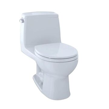 TOTO MS853113 Ultimate One Piece Round 1.6 GPF Toilet with Gravity Flush System - Seat Included Cotton Fixture Toilet One-Piece Round