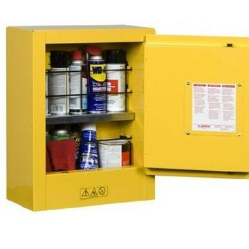 Justrite 890200 Sure-Grip EX Galvanized Steel 1 Door Manual Flammables Mini Safe