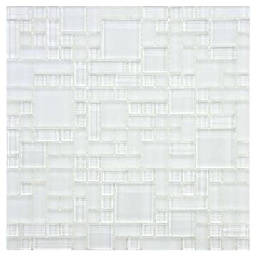 SomerTile 11.75x11.75-inch Reflections Versailles Ice White Glass Mosaic Wall Tile (10 tiles/9.79 sqft.)