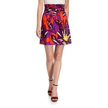 Mid-Rise Floral Paperbag Skirt