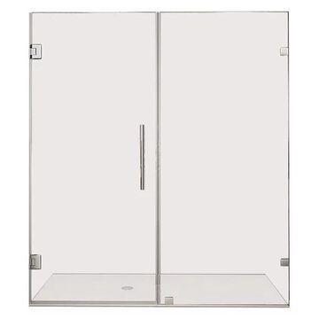 Aston Nautis Frameless Hinged Shower Door, Glass Shelves, Chrome, 70