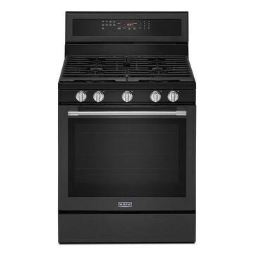Maytag 5-Burner 5.8-cu ft Self-cleaning Convection Freestanding Gas Range (Fingerprint-Resistant Black Stainless Steel) (Common: 30-in;Actual: 29.88-in)