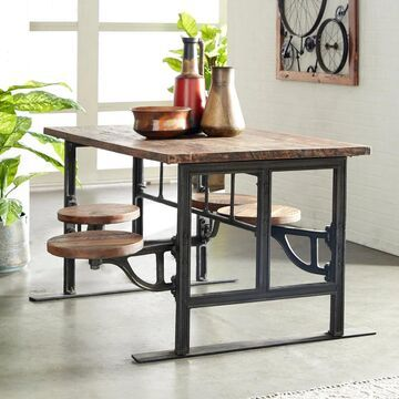 Rustic Brown Wood and Iron Dining Table by Studio 350