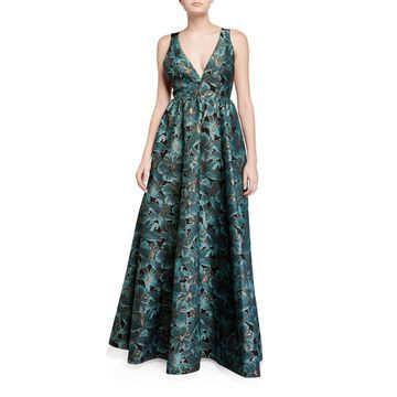 Floral Jacquard Sleeveless Gown with Bow Back Detail