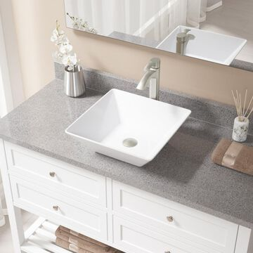 MR Direct White Porcelain Vessel Square Bathroom Sink with Faucet (Drain Included) (15.75-in x 15.75-in) | V170-W-726-BN