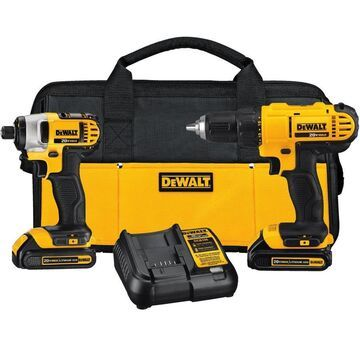 DEWALT 2-Tool 20V MAX LI-ION Cordless Drill/Driver + Impact Driver Combo Kit with Soft Case (Charger Included and (2) 1.3Ah Batteries Included)