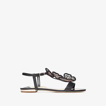 Sophia Webster Riva Flat Sandal (Black/Nude) Women's Shoes