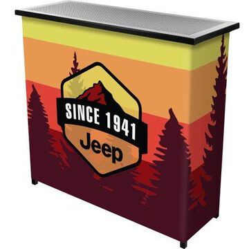Portable Bar-Collapsible Indoor Outdoor, Pop-Up Drink Station with Jeep Sunset Mountain-Patio, Garage or Man Cave Accessories