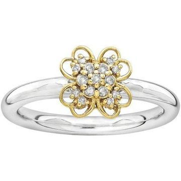 Diamond Sterling Silver and 14kt Yellow Gold-Plated Flower Ring