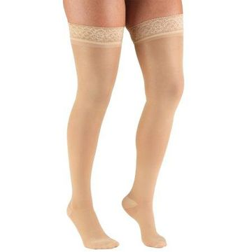 Truform Women's Stockings, Thigh High, Sheer: 20-30 mmHg, Beige, Large