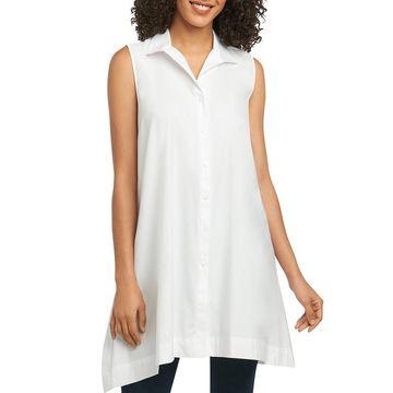 Foxcroft Womens Pockets Sleeveless Tunic Top
