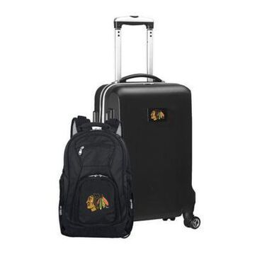 NHL Chicago Blackhawks 2-Piece Backpack and Carry On Luggage Set in Black