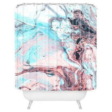 Splatter Marble Shower Curtain Blue - Deny Designs