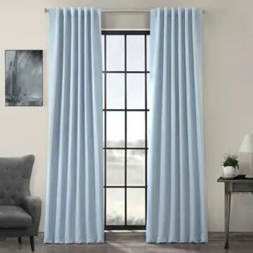 Exclusive Fabrics Thermal-insulated Solid Blackout 96-inch Curtain Panel Pair (50 X 96 - Frost Blue)