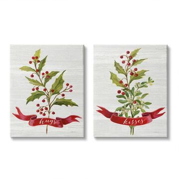 Stupell Industries Hugs and Kisses Christmas Holly Branch Winter Seasonal,2pc, Canvas Wall Art (16 x 20)