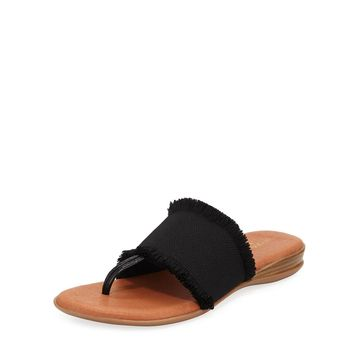 Nanette Frayed-Trim Leather Slide Sandals