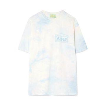 Aries - Flocked Tie-dye Cotton-jersey T-shirt - Blue