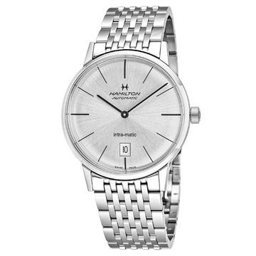 Hamilton Men's H38455151 'Intra-Matic' Automatic Stainless Steel Watch - Silver (Silver)
