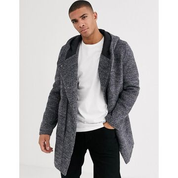 Esprit assymetric wool overcoat with hood in gray