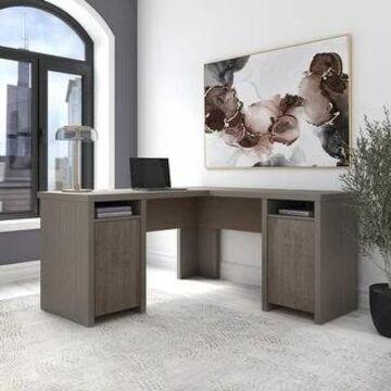 Bristol L Shaped Computer Desk with Storage Cabinets by Bush Furniture (Restored Gray/Thread Gray)