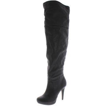 Thalia Sodi Womens Beckie Faux Leather Wide Calf Platform Boots