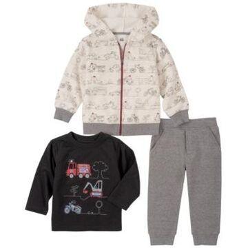 Kids Headquarters Little Boys Fleece Zip Front Hoody with Top and Fleece Pant Set, 3 Piece