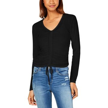 Ultra Flirt Womens Juniors Ruched V-Neck Pullover Top