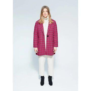 Violeta BY MANGO - Checked wool-blend coat fuchsia - XL - Plus sizes