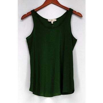 Hippie Rose Top Sz S Scoop Neck Rounded Hem Tank Olive Green Womens