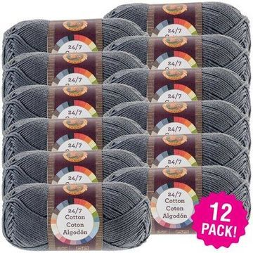 Lion Brand 24/7 Cotton Yarn - Charcoal, Multipack of 12